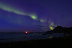 Aurore boréale, Bleik, Vesteralen, Norvège, lors de notre road-trip