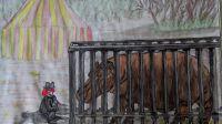 Un hippopotame à Naples, Aquarelle de voyage réalisée par Callista - La Fée-Garou